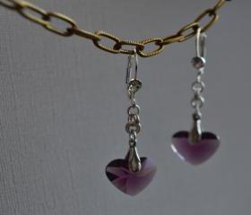 Purple Heart Earrings sterling silver